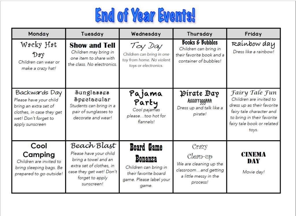 end of year school activities
