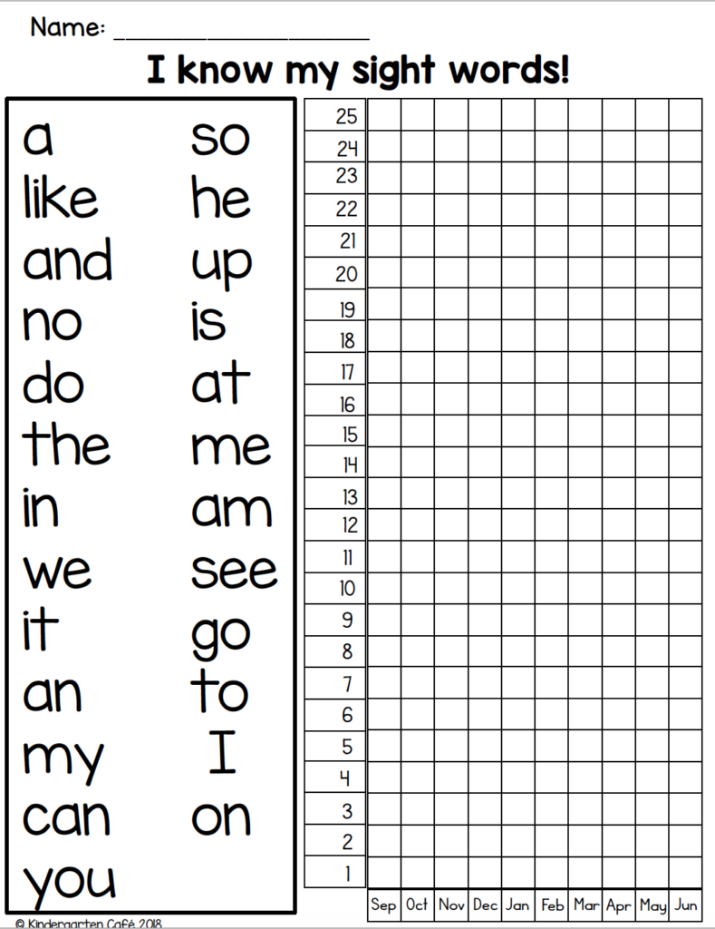 what are the high frequency words for kindergarten