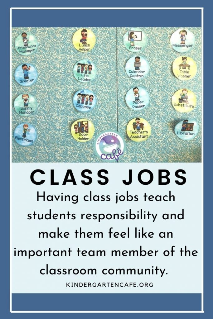 Class jobs help teach students responsibility and make them feel like an important team member of the classroom community.