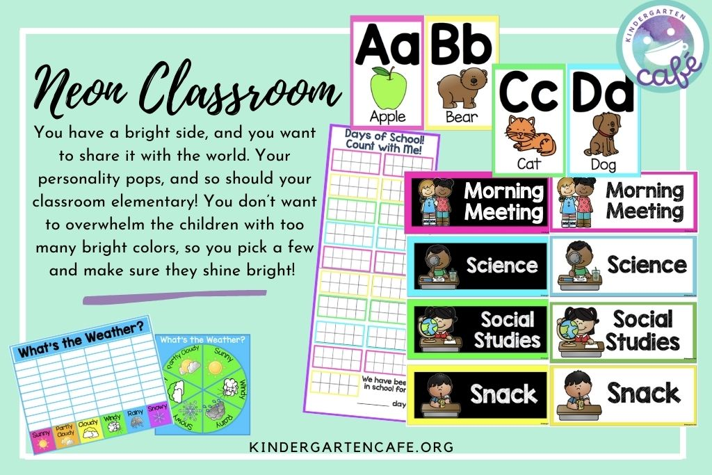 Neon classroom elementary theme includes schedule cards, alphabet cards, days of school count, and a weather chart!