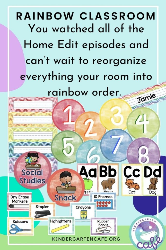 Rainbow classroom elementary theme includes name tags, table numbers, schedule cards, classroom labels and alphabet cards.